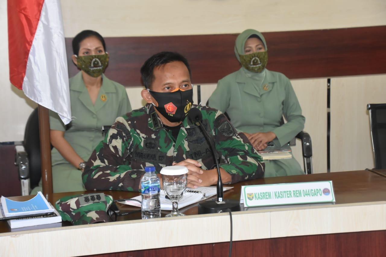 Kasiter Korem 044/GAPO Ikuti Kegiatan Vicon Bersama Aster Panglima TNI